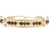 Tigers Eye Clasp Bracelet, Custom sizing, 12 Karat Wire, Sterling Silver, Handmade, Wire Wrapped, Bridesmaids, Western Wedding, Rose Gold