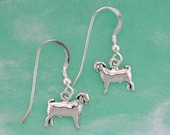 Stock Show Ram Goat Earrings in Sterling Silver, Great Gift for FFA or 4 H