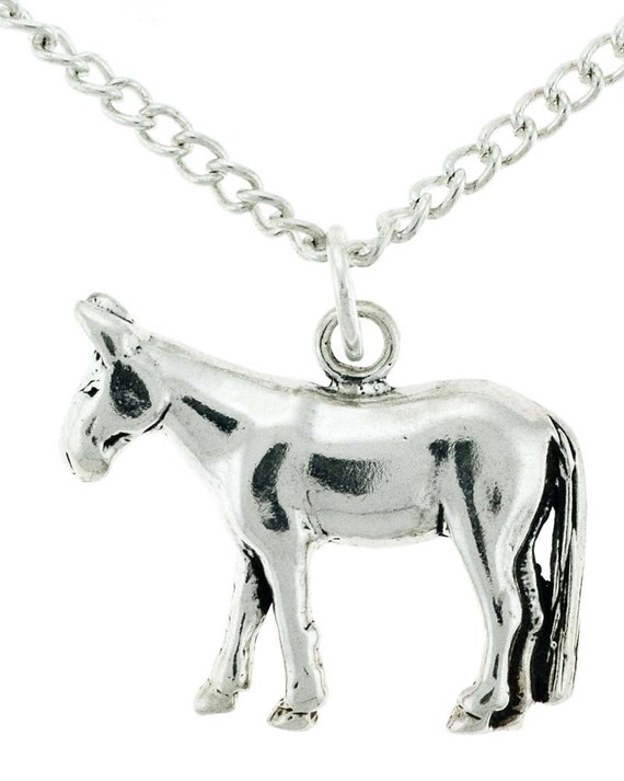 Stock Show Mule Necklace in Sterling Silver - Free Chain