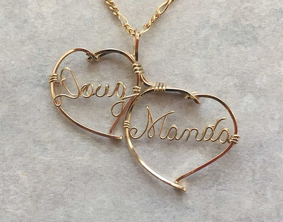 Personalized Sweetheart Necklace, Two Names surrounded by a  two handmade hearts joined. Available in gold, silver, rose gold,  combinations