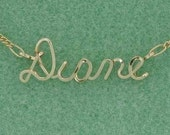 Personalized Name Necklace in Gold or Rose Gold - Handmade Wire Script