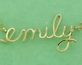 Custom Lowercase Name or Word Necklace, Gold or Rose Gold, Any Name in Wire Script