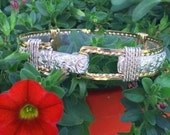 Beautiful Hand Crafted Western Floral Bracelet, Sterling Silver and Gold, Western Wedding, Cowboy Bracelet, Cowgirl Bracelet, Wire Wrapped