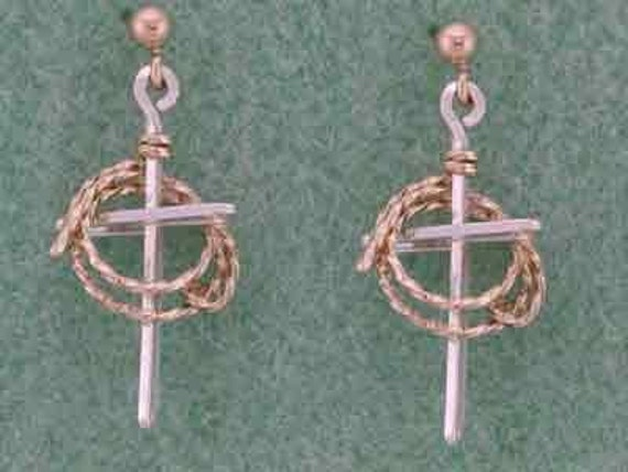 Custom Cross and Lariat Earrings, Western Design, Rodeo, 4 H, FFA, Silver & Gold Combo,