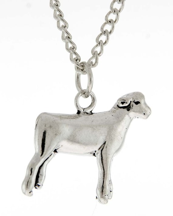 Stock Show Lamb Necklace in Sterling Silver - Free Chain