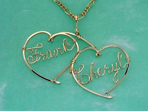 Personalized Sweetheart Necklace  - Two Names in Gold