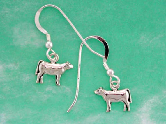 Stock Show Heifer Earrings in Sterling Silver - Free Chain