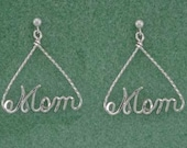 Personalized Triangle Name Earrings in Sterling Silver Wire Script