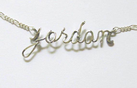 Personalized Lowercase Name or Word Necklace, Sterling Silver, Name Necklace, Custom Design, Wire Script, Wedding Party Gift, Personalized