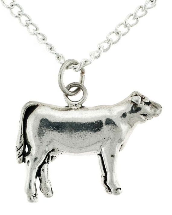 FFA & 4H Stock Show Milk Cow Necklace in Sterling Silver - Free Chain
