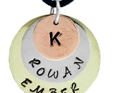 Disk Necklace, Hand Stamped with 2 names and 1 initial, Mothers Necklace, Memorial Necklace, Sweetheart Jewelry,