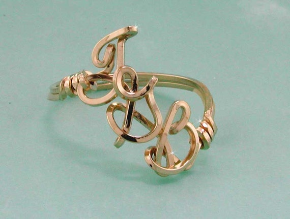 Personalized Initial Ring, Sizeable, Silver, Gold, Rose Gold, 3 initials, any letters, personal wire initial ring, wire writing, letter ring