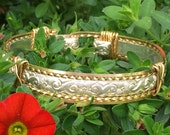Beautiful Hand Crafted Western Floral Bracelet, Silver & Gold, Rose Gold, Sterling, Western Wedding, Cowgirl Bracelet, Wire Wrap, Sizeable