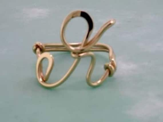 Single Initial Ring in 12 Karat Gold - Sized To Fit