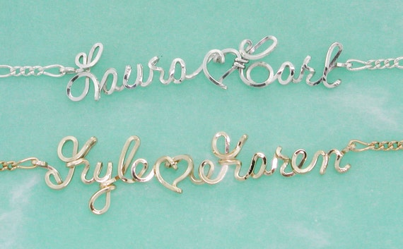 Personalized, Sweetheart Ankle Bracelet, Sterling Silver, Gold Wire, Anklet, Wire Writing, Gift for Her, Beach Wedding, Bridal Gifts, Custom