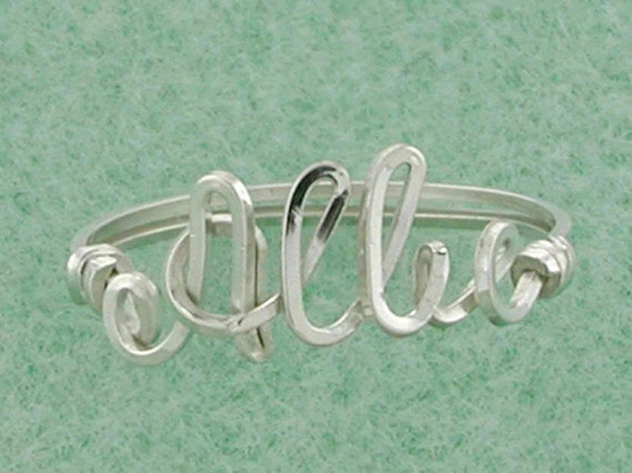Personalized Name Ring Sized to Fit Handcrafted in Sterling Silver