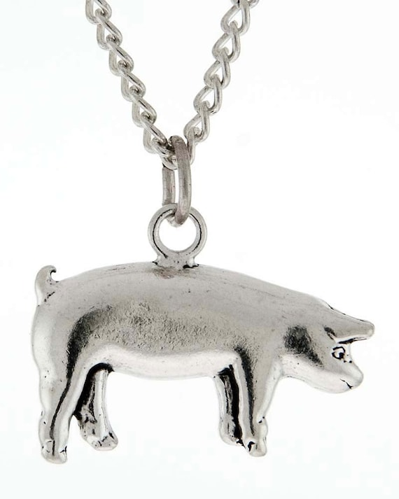 Stock Show Pig Necklace in Sterling Silver - Free Chain