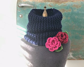 Rosy Posy Cowl by Fringe in Navy Blue with Pink and Red Rose Brooches