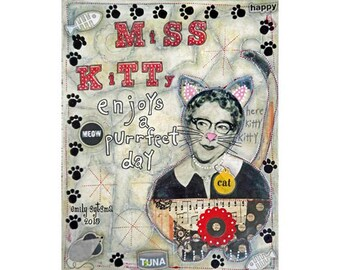 """Original ART Mixed Media Collage Painting Miss Kitty Cat Woman 11"""" x 14"""" on Canvas Board"""