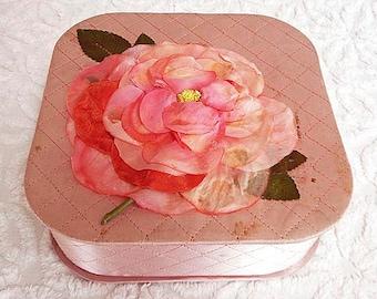 Vintage Hanky Box Keepsake Box Trinket Box with Vintage Millinery Flower Peach Pink Satin Quilted