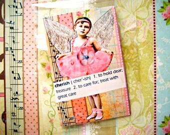Mini Art Zine Cherish Her XOXO Love Her Always Mothers Day or Birthday Surprise Pretty Pink