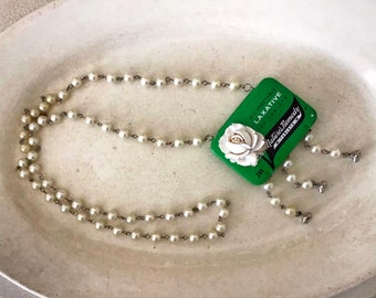 Handmade Assemblage Necklace Vintage Medicine Tin Faux Pearl Chain Reclaimed Recycled