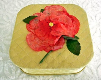 Vintage Hanky Box Keepsake Box Trinket Box with Vintage Millinery Flower Yellow Red Satin Quilted