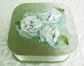 Vintage Hanky Box Keepsake Box Trinket Box with Vintage Millinery Flower Blue Green Satin Quilted