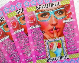 "Beauty Tricks Beautiful Postcards Set of 4 Print from Original Art Journal Page 4"" x 6"""