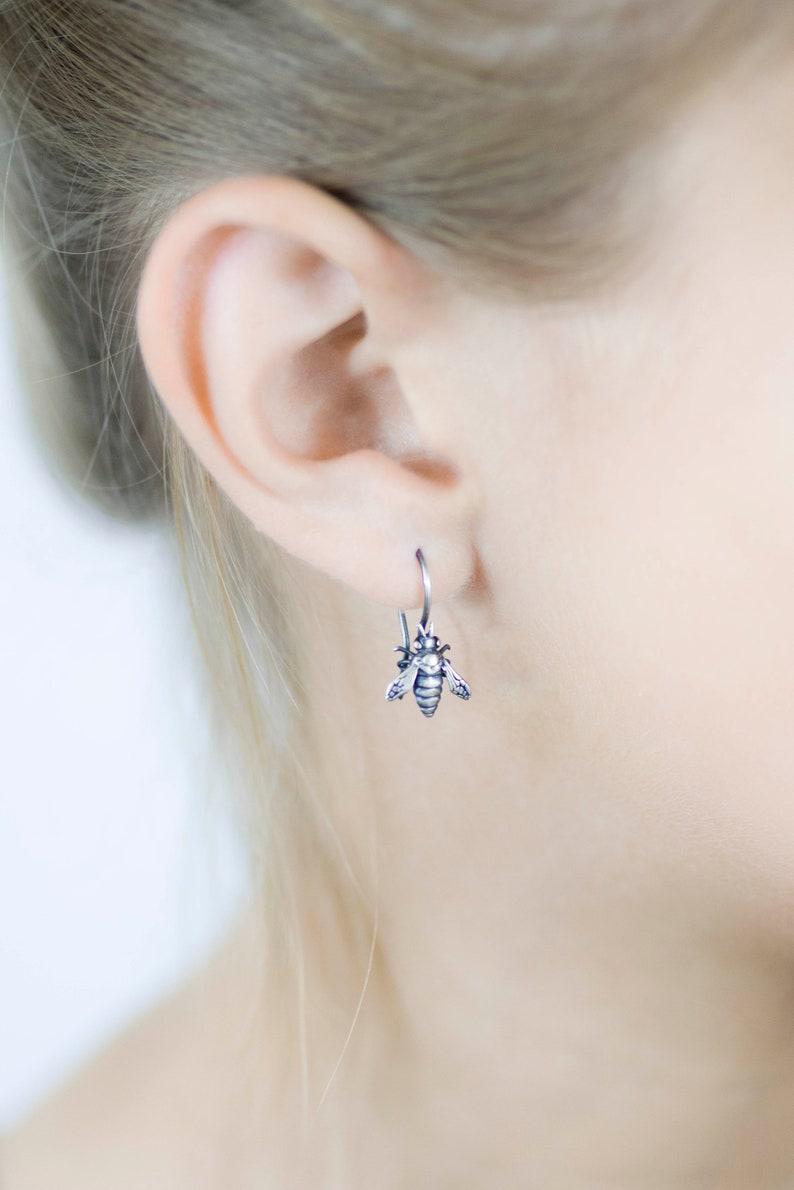 bee jewellery sterling silver bee earring honey bee earrings bee jewelry Bee Earrings silver drop earring holiday gift