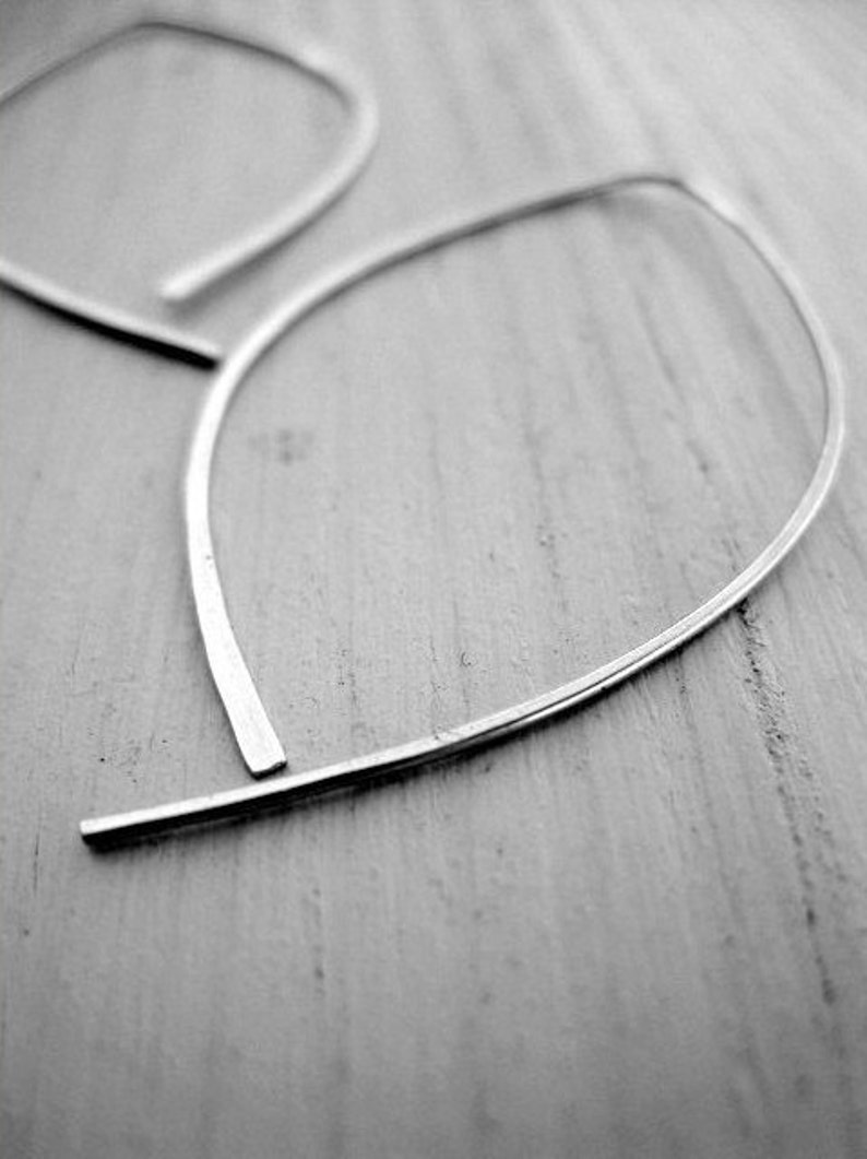 gold leaf earring botanical jewelry open hoops silver leaf earring LARGE Simple Leaf Hoops available in sterling silver and golf-filled