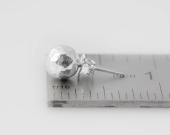 Sterling Silver Ball Stud Earring - 8mm large ball stud earrings, silver earrings, hammered sterling silver ball stud earrings, summer trend