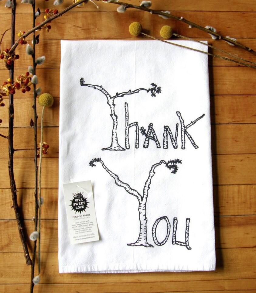 Thank You Dish Towel Rustic Birch Tree Print Thanksgiving