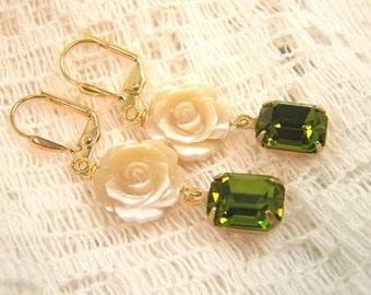 Vintage Swarovski and Rose Earrings