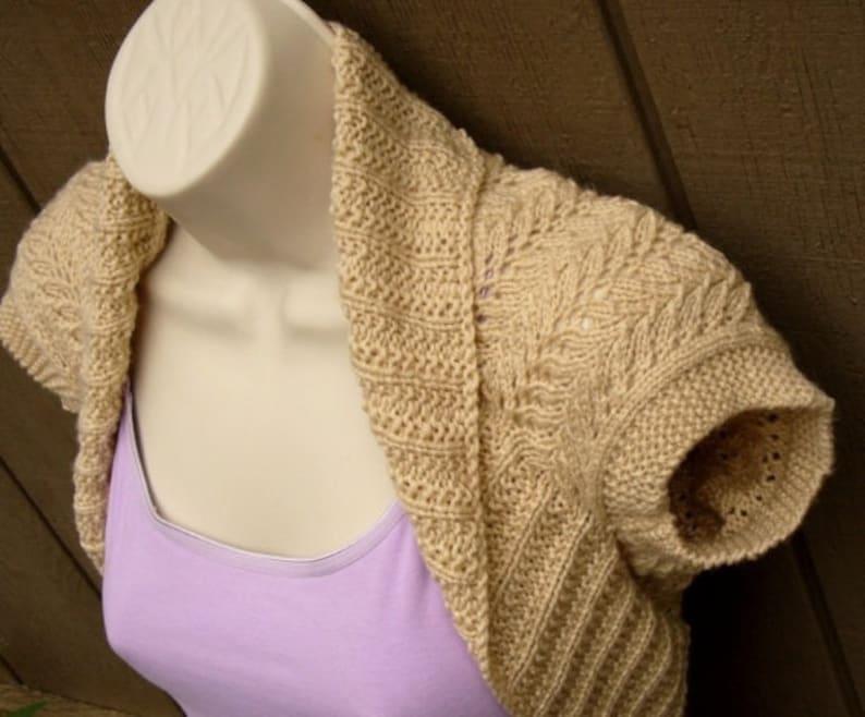 Mocha Cream Knit Shrug with Fern Lace size:Medium  beige tan brown bolero shrug knitted vest sweater wedding bridal evening prom cover-up
