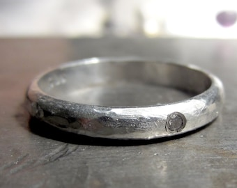 Diamond ring for men and women, textured Sterling silver wedding ring, rustic diamond solitaire, recycled silver
