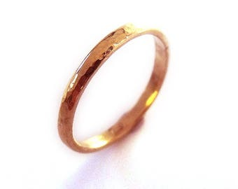 Hammered 18K 18ct solid rose gold Wedding band