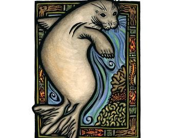 "Hōʻailona, Hawaiian Monk Seal 8x10"" fine art print"