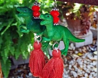 T-Rex Dinosaur Tassel Earrings