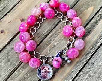 Frida Kahlo Pink Agate Charm Bracelet