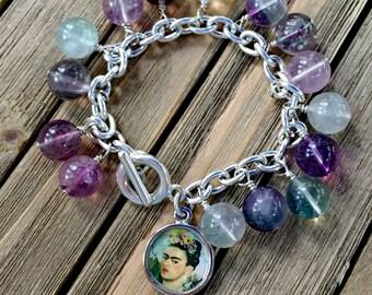 Frida Kahlo Fluorite Charm Bracelet