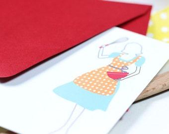 Retro Lady Cooks Flat Cards- Set of 6