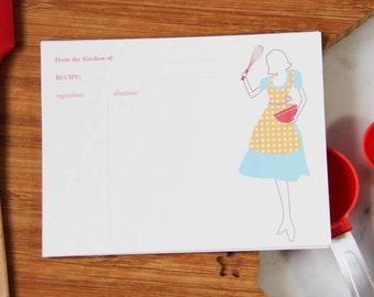 Retro Lady Recipe Cards- Set of 12