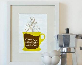 Coffee Print, Kitchen Art Print 5x7, 8x10 PRINT
