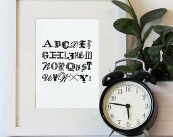 Alphabet Print 5x7, 8x10 PRINT