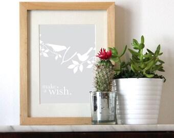 Make A Wish Bird Print, 8x10 Print or 5x7 Print