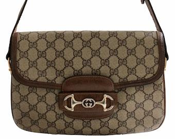 8d2e546001e6 Gucci Shoulder Bag GG Canvas Brown Leather Trim with Horse Bit Flap 1970s  Vintage