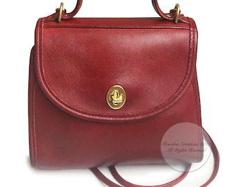 Vintage Coach Regina Bag #9983 HTF Red Leather with Strap 90s Crossbody Top Handle