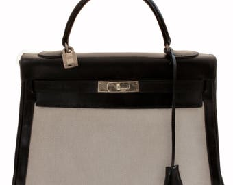 98b1017425dfa Vintage Hermes Kelly Bag 32cm Sac a Depeches Retourne Black Leather with  Canvas