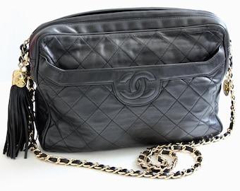 4ec5d4794aa9 Vintage Chanel Quilted Shoulder Bag Black Lambskin Leather Matelasse CC Logo  80s